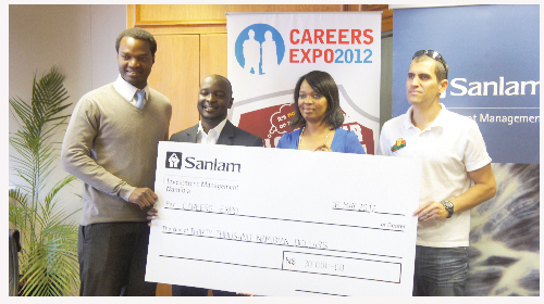 (Left to right) Abed Erastus, marketing manager of the Career Expo, Jason Kasuto, chairman of the expo, Angrid Shimuafeni, marketing and communications manager of Sanlam and David Bishop,  marketing and promotions manager of Radiowave. This is the second consecutive year that Sanlam is sponsoring the Career Expo. (Photograph contributed)