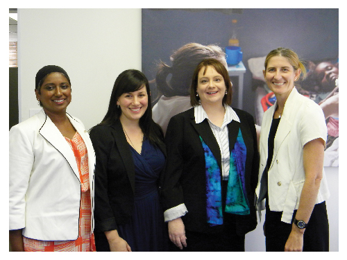 (Left to right) Geraldine Moodley, the Australian Red Cross representative to southern Africa, Alexandra Peard (volunteer worker) Penelope Middleton (volunteer worker) with Ann Harrap, Australian High Commissioner to Namibia.
