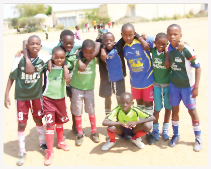 Young football players from the Arcadia Football Club during an after school training session.