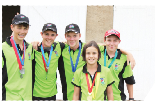 Ruan van Staden, Joubert Snyman, Francois Grobler, Warren Smit and Hanne' Snyman (front) returned as medal winners from the SA National Archery championships during April.