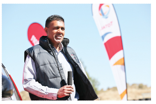 Seggie Kistasamy, Managing Director TOTAL Namibia at the launch of the TOTAL Evolution 95 product customer incentive campaign at the Tony Rust track.