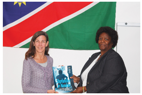 Dianne Hubbard, Coordinator of the Gender Research & Advocacy Project at the Legal Assistance Centre and the Rev. Maria Kapere, General Secretary of the Council of Churches in Namibia at the launch of the step family report. (photograph contributed).