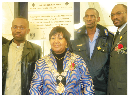 "(From left to right) Councillors Muesee Kazapua,  Elaine Trepper, Mayor of the City of Windhoek, Chief of City Police and Emergency Management,  Abraham Kanime and Eugene Tendekule at the launch of the ""Windhoek Chapter"" of the Decade of Action for Road Safety 2011 to 2020 at Zoo Park this week. (Photograph by Lorato Khobetsi)"