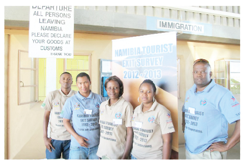 The team at the Noordoewer border post. From the left are Erykah Noabes, Enumerator, Brendon Bock, Field Manager, Queenie Brunzeel, Enumerator, Denise Goaseb, Enumerator and Isaak Goaseb, Field Supervisor.