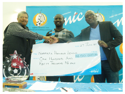 From the left is the league administrator of the Namibia Premier League, Josua Povey Hoebeb, NPL head:sponsorship and marketing, Mabos Vries and John Ekongo, Corporate Communications Officer at MTC. (Photographed by Yvonne Amukwaya.)