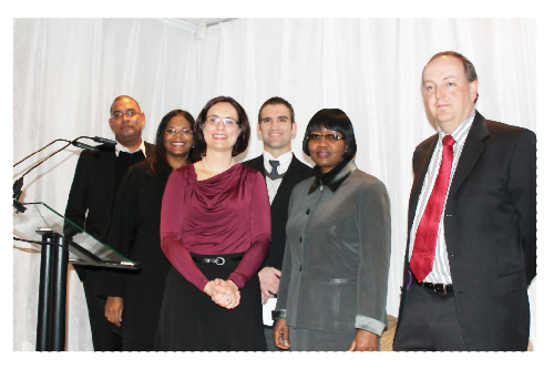 Members of the SAN Executive Committee (from left to right): Adrianus Vugs, Melissa Ramsamy-Agapitus  and Gert Grobler. In the front row (from left to right): The president of SAN, Carmen Forster, the Minister of Finance, Saara Kuugongelwa-Amadhila, and Peter Temple, president-elect of the Actuarial Society of South Africa.
