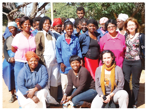 Carmen Díez, ambassador of Spain to Namibia, together with Olga Martín, project officer of the Spanish Cooperation Office and members of the Kalahari Wild Silks. (Photograph contributed)