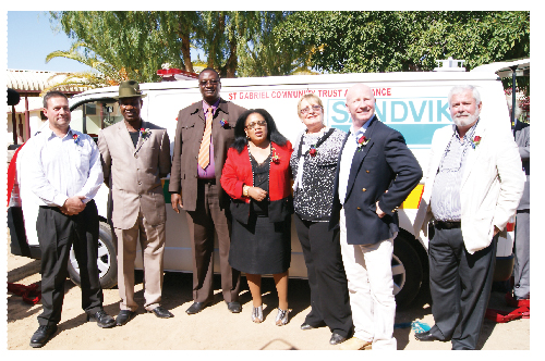 At the handover ceremony (from left to right): Jacques Steyn (vice president of SANDVIK Mining Systems Africa), Daniel Muhuura (Mayor of Arandis), Cleophas Mutjavikua (Governor of the Erongo region), Petrina Haingura (Deputy Minister of Health and Social Services), Gabriela Teleman (MD of St Gabriel Community Ambulance Trust), Paul Day (Mine Manager Areva Namibia) and Alain L'Hour (MD Areva Namibia).