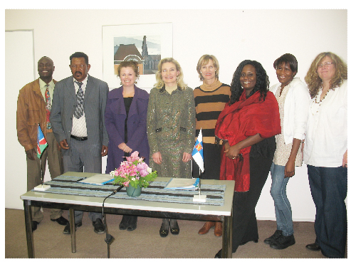 Chargé d'Affaires of Finland, Anne Saloranta, together with the representatives from the Erongo Region Small Scale Miners Association and the Omba Arts Trust. Both received financial support from the Finnish Embassy in Namibia. The Fund for Local Cooperation is a local funding instrument administered by the Embassy. It has supported the promotion and realisation of human rights and democracy in Namibia for nearly 11 years, complementing other funding instruments made available by the Government of Finland.