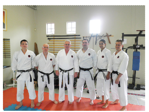 From the left are Dimo Eloff, Peter Cunningham, Sensei Carl van der Merwe, Herman Hentschel, Shirleen de Wee and Sensei Willie Viljoen.