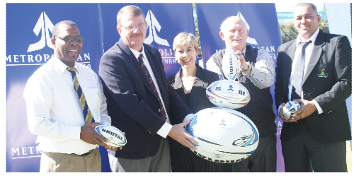 Solly Duiker from the NSSU; Herman Rust from NASSRA, Le-Anne van Zyl, financial director of Metropolitan Namibia, Fanie van Zyl from NASSRA and Bradley Basson, president of the Rugby Union.