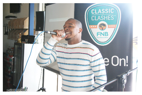 Ponti, Performing the theme song for the Classic Clashes.(Photograph by Yvonne Amukwaya)
