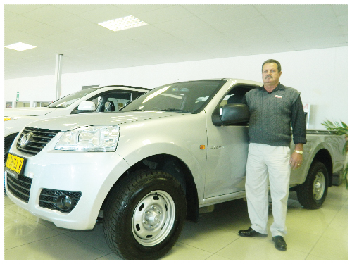 Tolla Botha, sales executive of GWM with the single cab, Steed 5 workhorse. (Photograph by Yvonne Amukwaya)