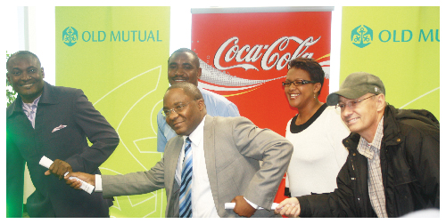(Left to right) Pohamba Shifeta, Deputy Minister of Youth, National Service, Sport and Culture; Sakaria Nghikembua, CEO: Operations: Old Mutual Namibia, and Quinton Steele-Botes, Coca-Cola Brand Ambassador at the launch of the 12th Annual Victory Race Series Launch . (Photograph contributed)