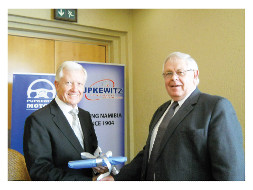 Managing Director of the Pupkewitz Motor Division, Junior Bruwer (right) earlier this week welcomed former McCarthy CEO, Brand Pretorius to a packed hall at the Windhoek Country Club.