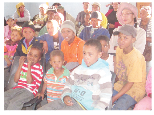 Residents of Hamis during one of the open-talk discussion on the rights, capabilities, potential and situation of the physically challenged youth. Hamis is situated in Windhoek rural constituency, approximately100km outside the capital. (Photograph by David Adetona)