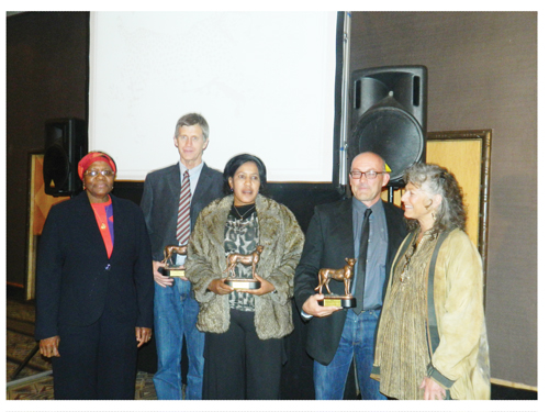 Minister Netumbo Nandi Ndaitwah and Dr. Laurie Marker with the 2012 Cheetah Conservation winners (Photograph by Hilma Hashange)