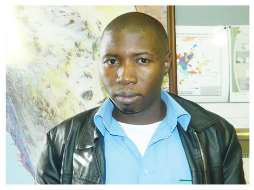 SPAN's Project Coordinator, Samson Mulonga. (Photograph by Hilma Hashange)