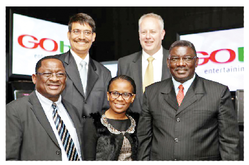 (Front) from left :Dr. K Shangula, Chairman of the Board, MultiChoice Namibia; Zingisa Taho Head, Regulatory Affairs, MultiChoice Africa;Deputy Minister of Information and Communication Technology, Stanley Simataa. (Back) Ali Majiet, Acting GM, MultiChoice Namibia; Willem Hattingh, GM Gotv.