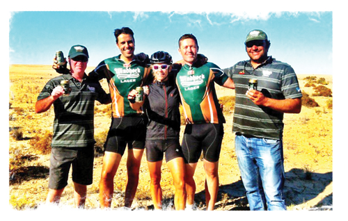 (Left to right): Ian Stevenson, Senior Brand Manager of NBL; Antonio Simoes, Market Manager:Exports of NBL; Jessi Stensland, American participant; Johan Vosloo,QDVP4 Manager of NBL and Daniel Keulder, Manager:Sponsorship and Events.