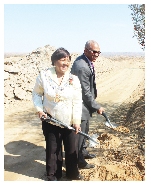 Windhoek Mayor, Elderwoman Elaine Trepper and Old Mutual Investment Group CEO, Lionel Mathews.