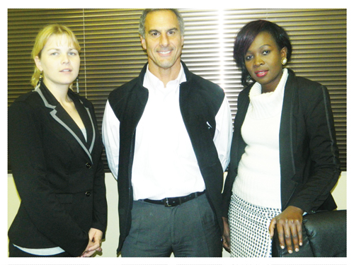(Left to right): Jolandie Hayword, Medical Executive at erongoMED, Rick Coury, the General Manager and Antoinette Ntsea, also a Medical Executive with the medial equipment company.