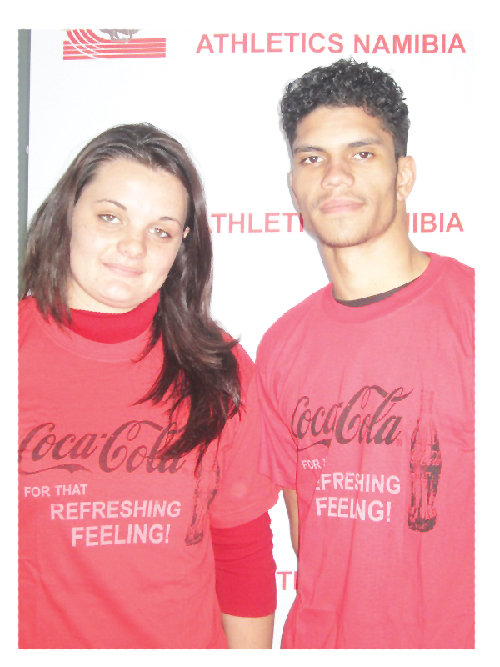 Junior athletes representing Namibia at the World Junior Championships Charlene Engelbrecht and Fred-Charles Pieterse.