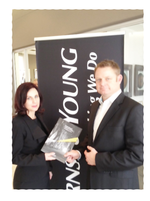 Mirna Koekemoer and Hans Hashagen at the launch of the Ernst & Young Global Fraud Survey