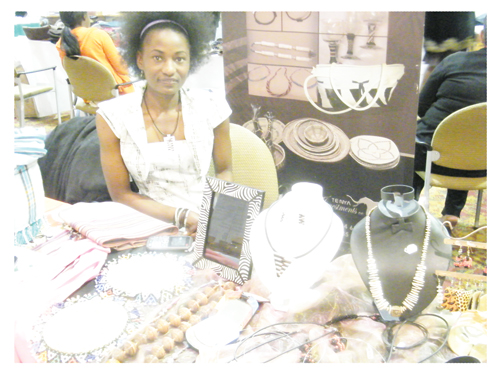 Namutenya Asino of Tenya Investments during the exhibition at SME Expo (Photograph by Hilma Hashange)
