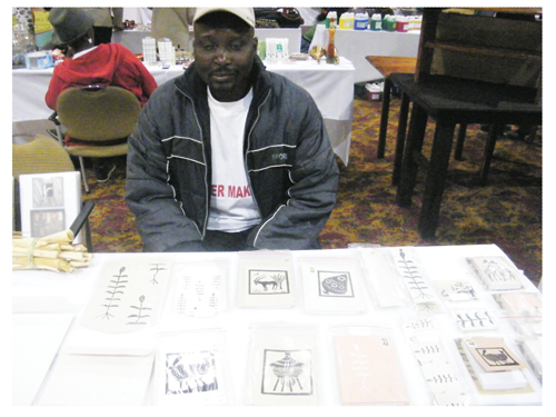 Abraham Shikongo at his stand at the SME Expo (Photograph by Hilma Hashange)