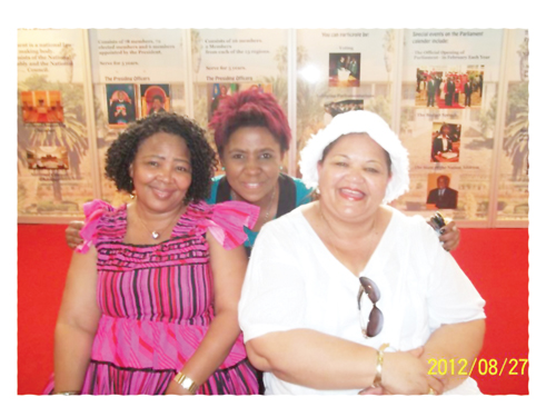 Nancy Muinjo flanked by Hardap Governor, Katrina Hanse-Himarwa and Margaret Mensah Williams, Deputy Chairperson of the National Council pictured at the National Assembly stand at the Ongwediva trade fair.