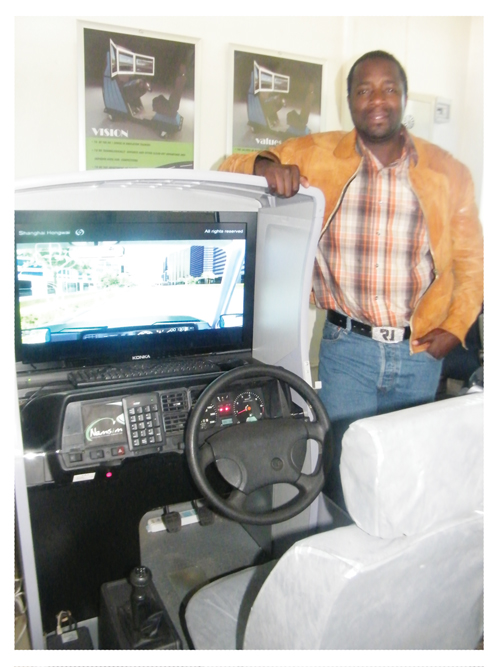 Roigelio Soabeb, MD of Namsim, introducing one of the company's four driving simulators. Familiarisation with real-life driving conditions before tackling the road, benefits learner drivers by making the initial learning phase less stressful. The concept takes its cue from pilot training where simulator hours count for training. (Photograph by Lorato Khobetsi)