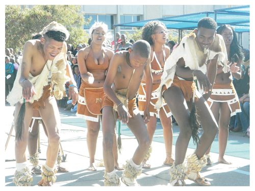The Tswana dancing group performing its unique traditional dance to celebrate the official opening of the 17th Polytechnic cultural festival which ends this Friday. (Photograph by Lorato Khobetsi)