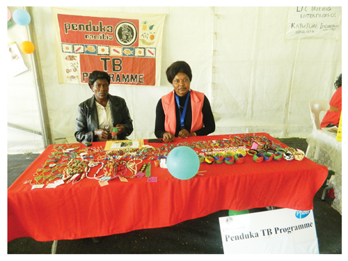 From left to right, Ester Tobias Taren and Field Promoter at the Penduka Crafts Centre, Lavina Hangula at the Katutura Central Expo that was held last week Friday. Penduka exhibited crafts made by the women at the craft centre. (Photographed by Melba Chipepo)