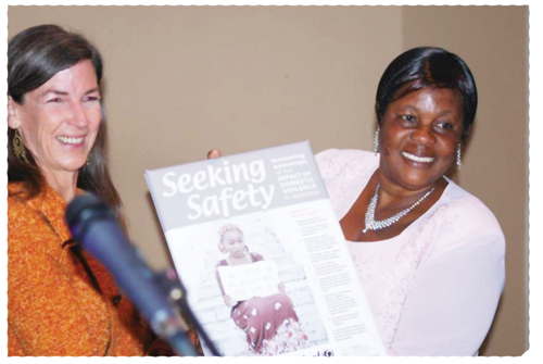 Coordinator of the Gender Research and Advocacy Project at the Legal Assistance Centre, Dianne Hubbard, and Minister of Gender Equality and Child Welfare, Doreen Sioka at the launch of the report.