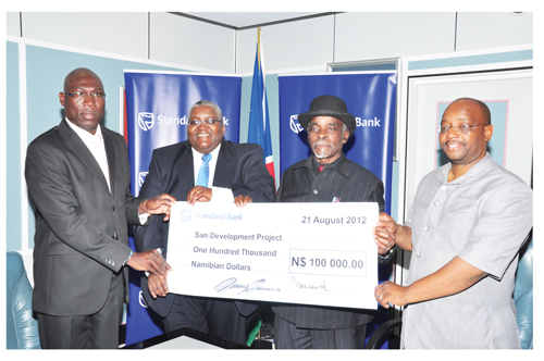(Left to right) Standard Bank Head of Marketing Thaddeus Maswahu, Standard Bank Chief Executive, Mpumzi Pupuma, Prime Minister Nahas Angula, and Deputy Mayor of the City of Windhoek Gerson Kamatuka at the donation handover.