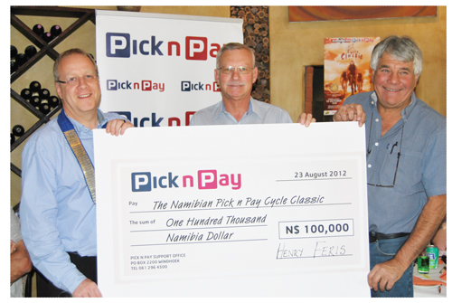Dirk Schuler, former president: Rotary Club of Windhoek; Gilbert Botha, Retail Marketing Manager: Pick n Pay; and Kevin Davidow, Chairperson: The Namibian Pick n Pay Cycle Classic
