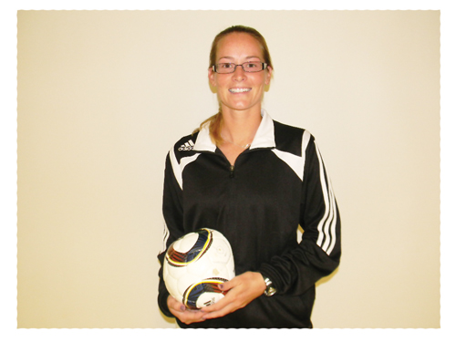 Daryl Schwenk, a qualified soccer coach who specialises in teaching students with disabilities. She has  played university league women's soccer since the late 1990's.