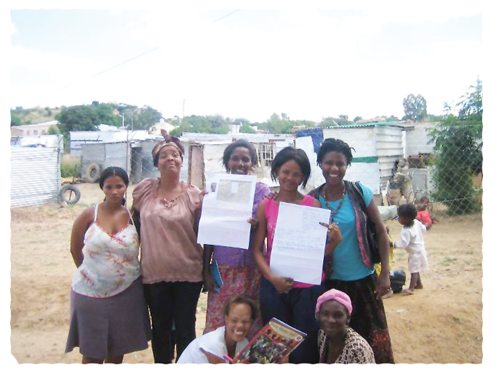 "Members from the Young Feminist Movement at the recently held ""Women's right meeting"" at the   Goreangab settlement."