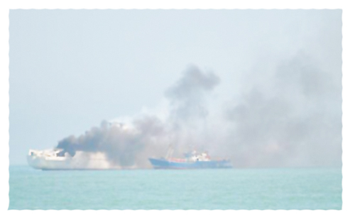 France Telecom's cable ship, the Charamel on fire offshore Henties Bay on Sunday 12 August.