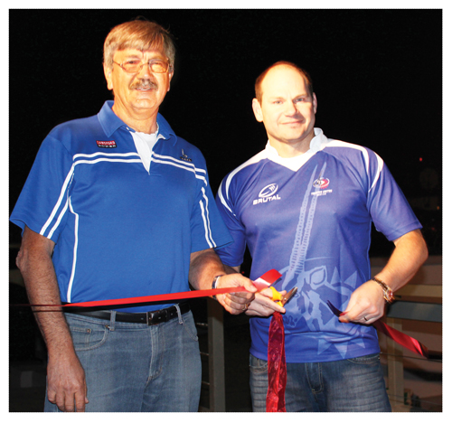 Johan Willemse and Quinton van Rooyen at the Official Opening of the revamped Trustco United Sports Grounds.