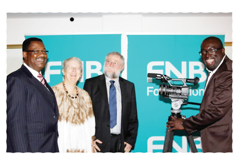 Advocate Rukoro, CEO FNB Group, Ms. Jane Katjivivi , Chairperson of the FNB Foundation, Honourable Calle Schlettwein, Deputy Minister of Finance, and Obed Emvula, producer of the film.