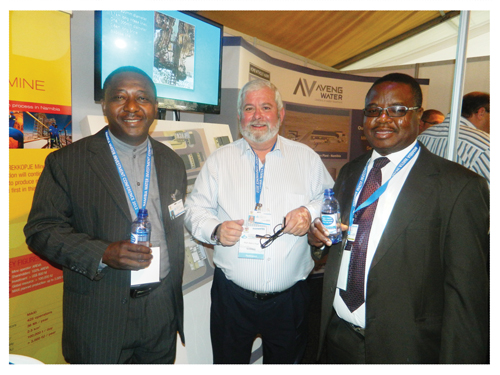 Hilifa Mbako, Areva's Country Manager, Alain L'Hour, Managing Director of Areva Resources Namibia and Paulinus Shilamba, Managing Director of Nampower sampling desalinated water from Areva's desalination plant in the Erongo Region. (Photograph by Hilma Hashange)