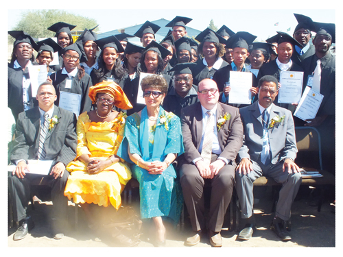 From Left to the right (seated):  McDonald William Hanse, Branch Manager Old Mutual Keetmans;  Lucia Basson, Special Advisor to the Karas Governor, Veronica De Klerk, Holger Haibach KAS Country Representative and Pastor Zezito Epifanio with the graduates of the Karas Development Centre.
