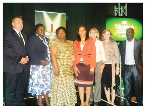 (From left to right) Wessie van der Westhuizen, MD of NBL, Rosemary Shippiki, senior brand manager at NBL, Edith Mbango, Windhoek Larger Ambassador, Jacquiline Pack, brand manager Windhoek Trade Mark with programme judges, Ginger Mauney, an award winning wildlife filmmaker, Kirsty Watermeyer, a radio, TV and film personality, and Amos Shiyuka, a local businessman, at the launch of the new and third season of the Windhoek Lager Ambassador Programme 2012/2013. (Photograph by Lorato Khobetsi)