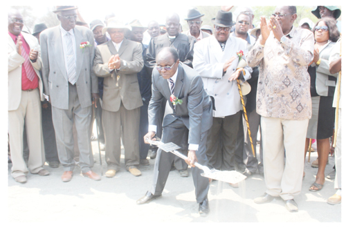 The Minister of Information and Communication Technology, Joel Kapanda at the ground breaking ceremony of the three bridges to be constructed to link Okahandja to Ovitoto settlement.