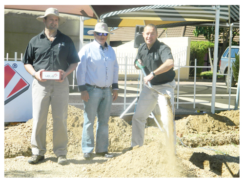 (From left to right) Raul Batista, business developer at Vela Building Solutions, Russel van Wyk from the City of Windhoek and the Chief Executive Officer of Wispeco, Louis van der Berg at the ground breaking ceremony at the Windhoek Show grounds this week. (Photograph by Lorato Khobetsi)