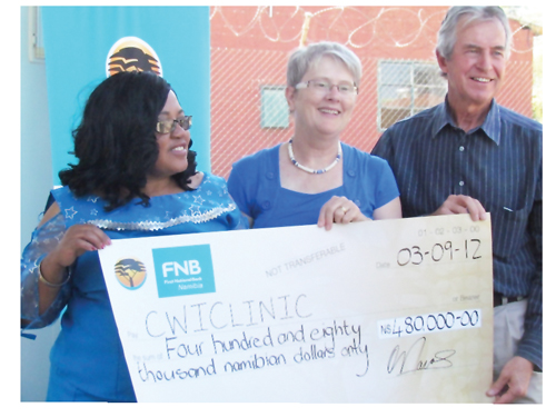 From left to right, Deputy Minister, Ministry of Health and Social Services, Hon Katrina Haingura, Chairperson of the FNB Foundation, Jane Katjavivi, and Senior Director, SYNERGOS Institute, Len Le Roux.