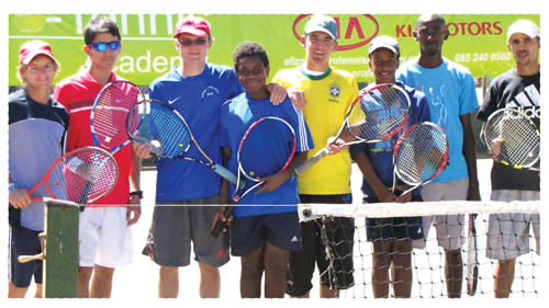 Players before the start of the  KIA PTA Tennis Tournament last week