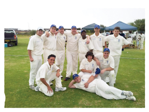 United Cricket Club1st Division team. Back (left to right): John Valentin, Pieter Fouché, Eddie Viljoen, Shaun du Preez, Bhaskar Chuchukonda, André Maasz and Danie van Schoor. Front(left to right): Damon Coetzee, Hendrik van der Walt, Phillip Maass. Lying on the ground: Carl Maass.